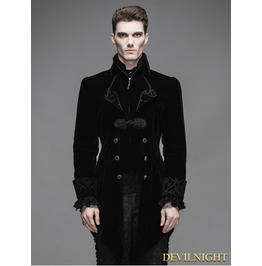 Black Vintage Gothic Swallow Tail Jacket For Men Ct02201