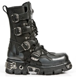 New Rock Shoes Classic New Rock Combat Boots With Silver Flame Design
