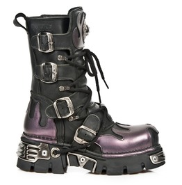 New Rock Shoes Classic New Rock Combat Boots With Purple Flames