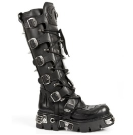 New Rock Shoes Tall Leather Boots With Black Flames