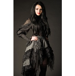 Gray Black Lacy Victorian Gothic Asymmetrical Ruffle Skirt Free To Ship