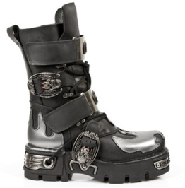 New Rock Shoes Black Leather Boots With Silver Bat And Flames