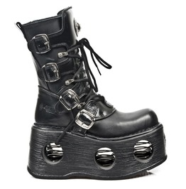 New Rock Shoes Unisex Leather Mid Calf Boots With Neptune Spring Soles