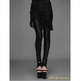 Black Gothic Lace Tassel Skirt Legging For Women Pt019