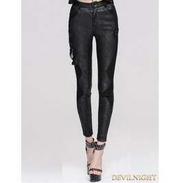 Black Jacquard Gothic Leather Legging For Women Pt016