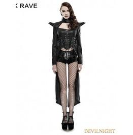 Black Gothic Punk Queen Long Rider Coat For Women Y 670