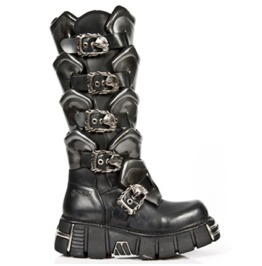 New Rock Shoes Silver Warrior Leather Boots With Skull Designed Buckles