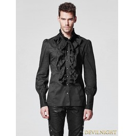 Black Ruffles Gothic Blouse For Men Y 597