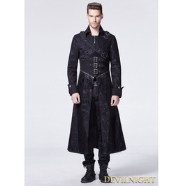 Black Gothic Punk Cross Long Trench Coat For Men Y 594