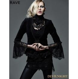 Dark Black Gothic Short Top For Women Y 583