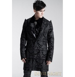 Black Pattern Gothic Long Jacket For Men Y 448 Bk