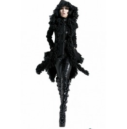 Black Long Hooded Gothic Coat For Women Y 426