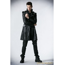 Black Leather Military Long Trench Coat For Men Y 366 M