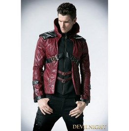 Black And Red Leather Vampire Style Gothic Jacket For Men Y 254 Mrd