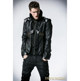 Black Leather Vampire Style Gothic Jacket For Men Y 254 Mbk