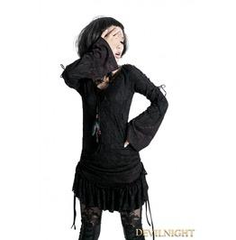 Black Gothic Lace Long Shirt For Women T 300