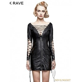 Black Gothic Punk Hollow Out Deep V Sexy Dress Q 312