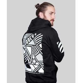 Disobey Black Graphic Urban Streetwear Zipped Cotton Hoodie By Allriot