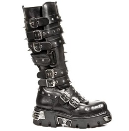 New Rock Shoes Knee High Black Leather Boots With Studs And Spikes