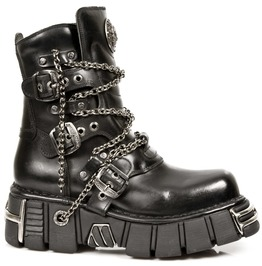 New Rock Shoes Chained Black Leather Low Cut Boots