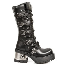 New Rock Shoes Unisex Lace Up Buckled Leather Boots With Metal Heels
