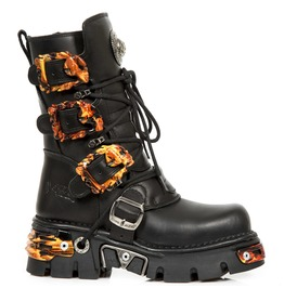 New Rock Shoes Lace Up Boots With Flaming Skull Buckles