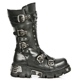 New Rock Shoes Black Leather Gothic Boots With Studs And Reactor Soles