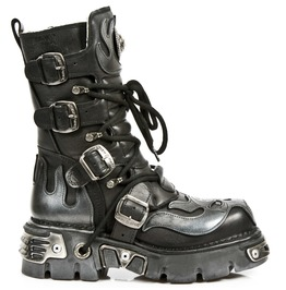 New Rock Shoes Silver Flaming Demon With Pentagram Black Boots