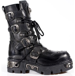 New Rock Shoes Black Flaming Demon With Pentagram Design Boots