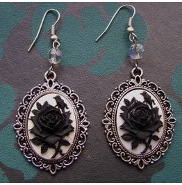 Gothic Victorian Black Rose Cameo Drop Bead Earrings