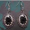 Gothic victorian black rose cameo drop bead earrings earrings 2
