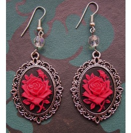 Gothic Victorian Red Rose Cameo Drop Bead Earrings