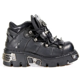 New Rock Shoes Unisex Black Leather Studded Boots