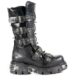 New Rock Shoes Black Leather Studded And Spiked Reactor Boots