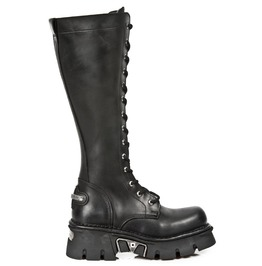 New Rock Shoes Black Leather Combat Boots