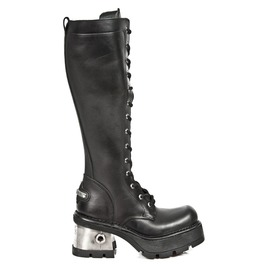 New Rock Shoes Ladies Black Leather High Combat Boots With Metal Heel