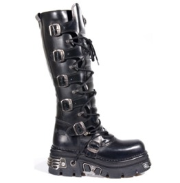 New Rock Shoes Black Leather Laced Up High Boots
