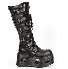 New Rock Shoes Black Leather Knee High Boots With Neptune Spring Sole