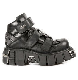 New Rock Shoes Black Leather Ankle Boots With Velcro Straps