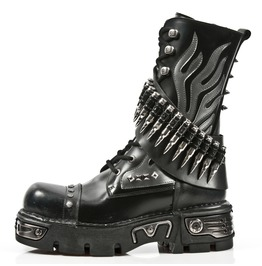 New Rock Shoes Black Leather Boots With Silver Flames And Bullets
