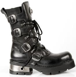 New Rock Shoes Black Original New Rock Boots With Metal Heels