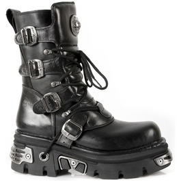 New Rock Shoes Classic New Rock Leather Boots With Reactor Sole