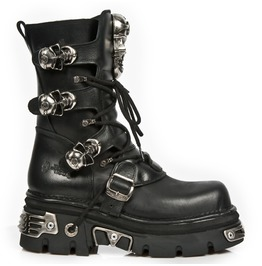 New Rock Shoes Lace Up Leather Boots With Skull Buckles