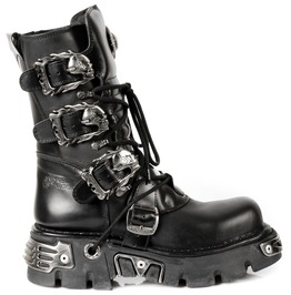 New Rock Shoes Classic Reactor Boots With Skull Buckles