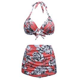 Women Floral Retro High Waist 2 Pieces Womens Swimsuit S M L Xl