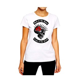 Anarchy Spiked Skull Punk Rock Women Cotton Tee By Rancid Nation