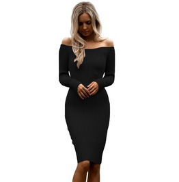 Black Off Shoulder Long Sleeve Sweater Dress Women Dresses