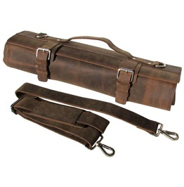One Leaf Leather Knife Roll Chefs Bag Hunter Leather Khampa Silver Buckle