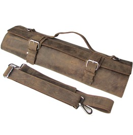 One Leaf Leather Knife Roll Chef Bag Bedouin X Silver Buckle (8 Holder)