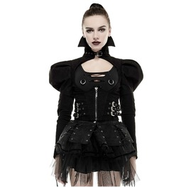 Punk Rave Women's High Collar Puff Sleeves Back Lace Up Short Jacket Y660